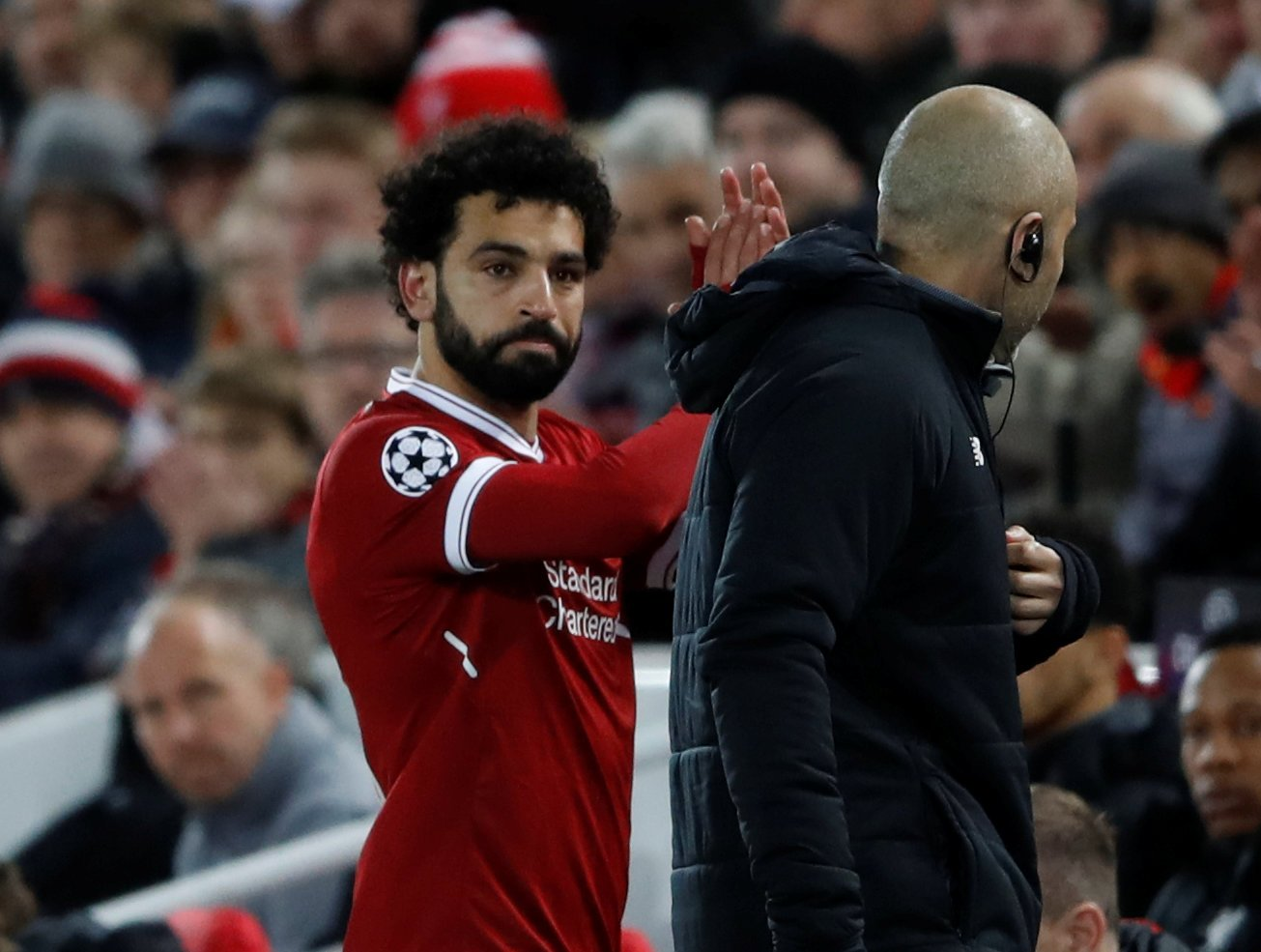 Mohamed Salah comes off injured in the Champions League semi-final