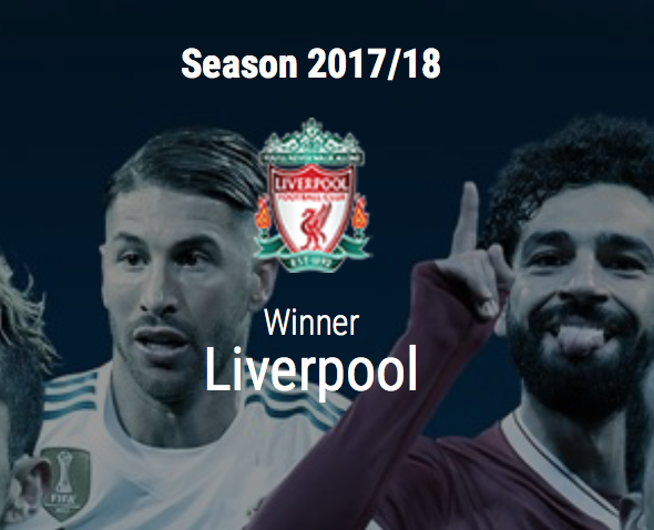 UEFA names Liverpool as 2017-18 Champions League winners on its website