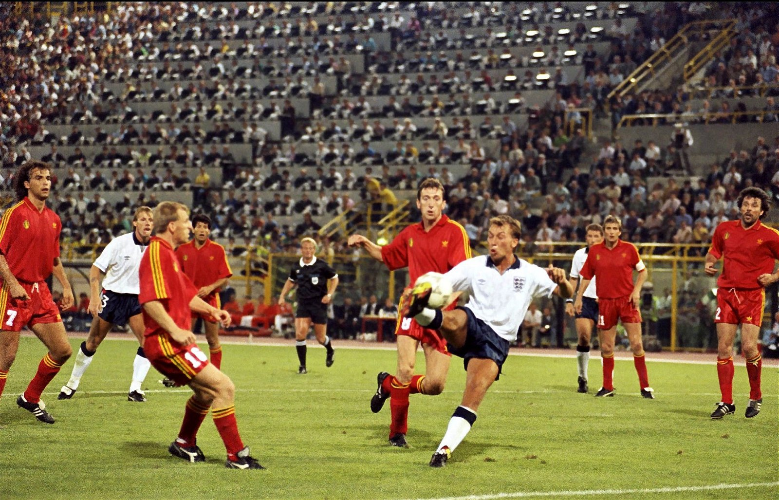 David Platt of England scores the first goal late in extra time to beat Belgium at the 1990 World Cup