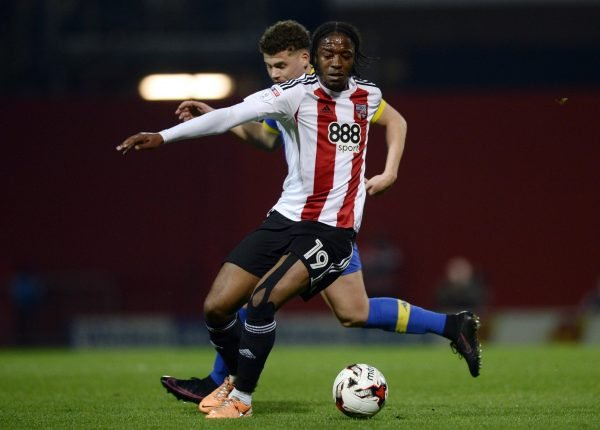 Romaine Sawyers in action for Brentford against Leeds United
