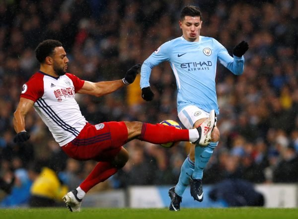 Man City youngster Brahim Diaz in action against West Brom
