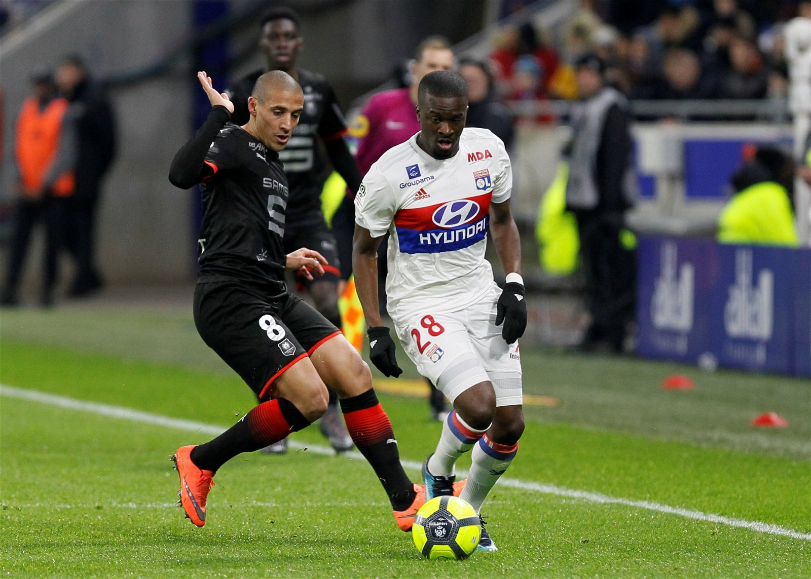 Tanguy Ndombele in action for Lyon against Rennes