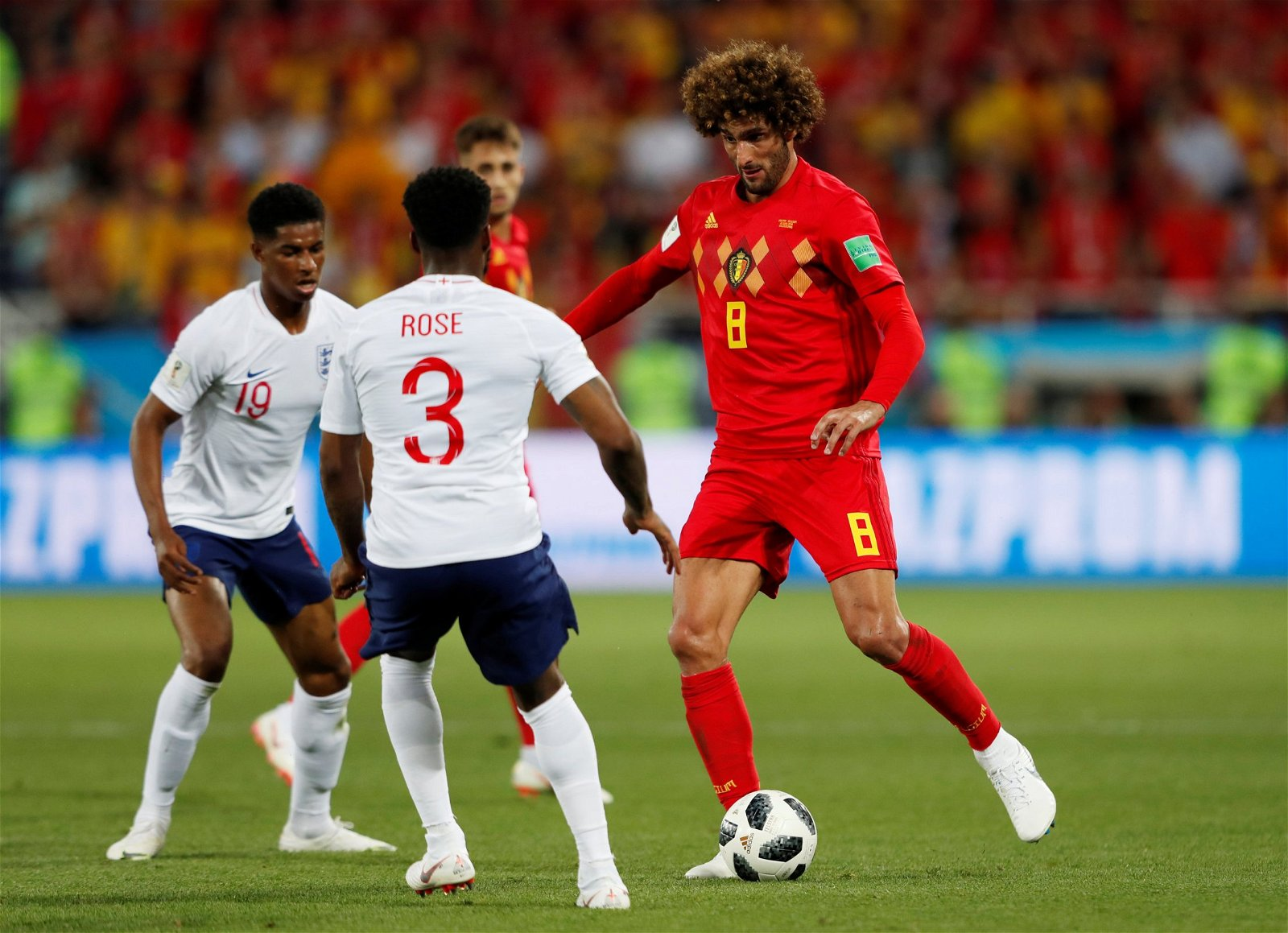 Marouane Fellaini in action for Belgium against England at the World Cup