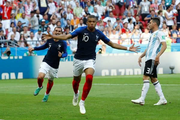 Kylian Mbappe celebrates scoring for France against Argentina at the World Cup