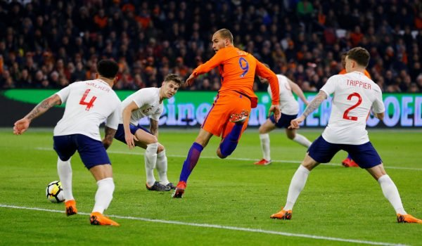 Bas Dost in action against England