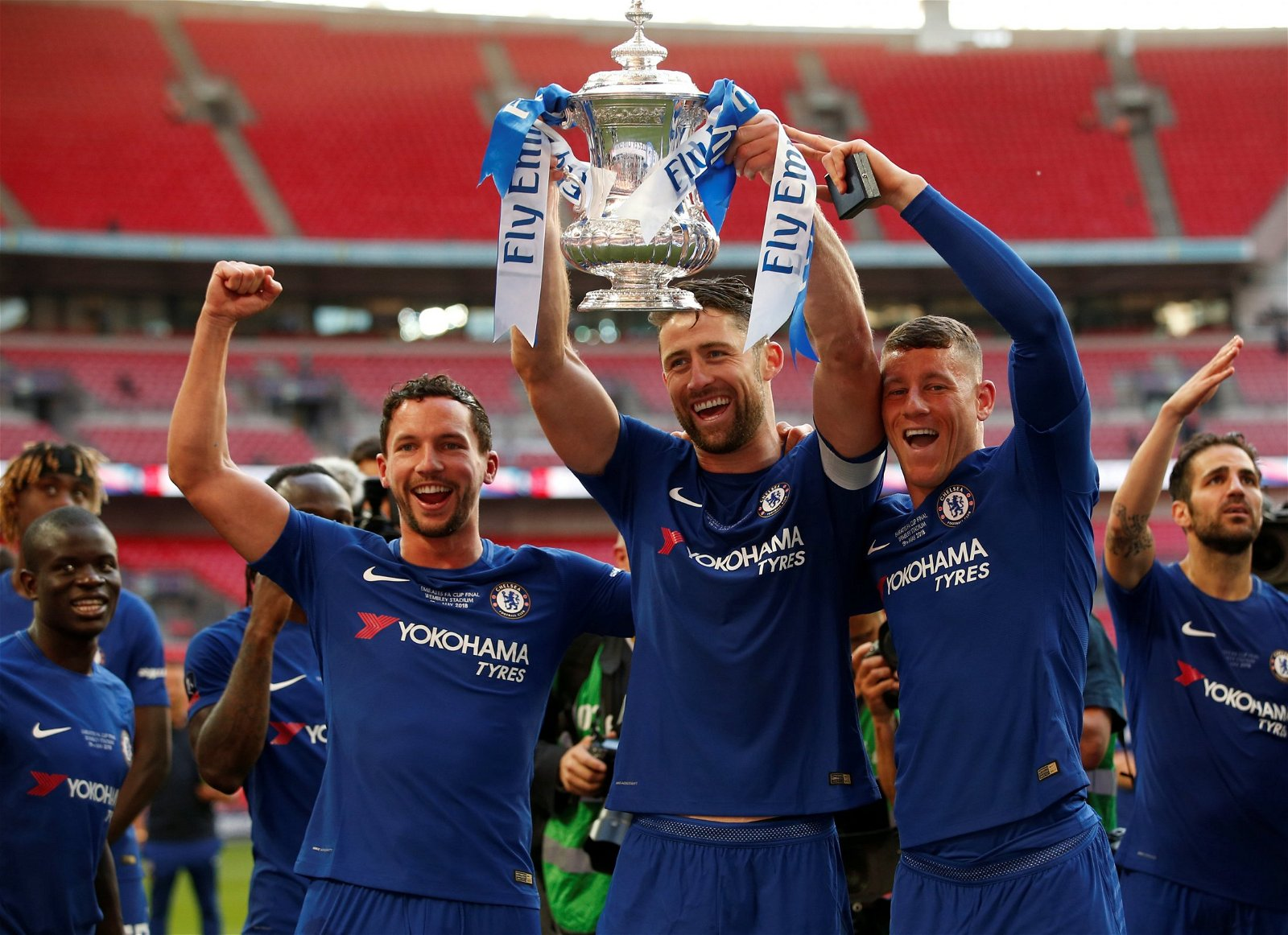Danny Drinkwater, Gary Cahill and Ross Barkley lift the FA Cup