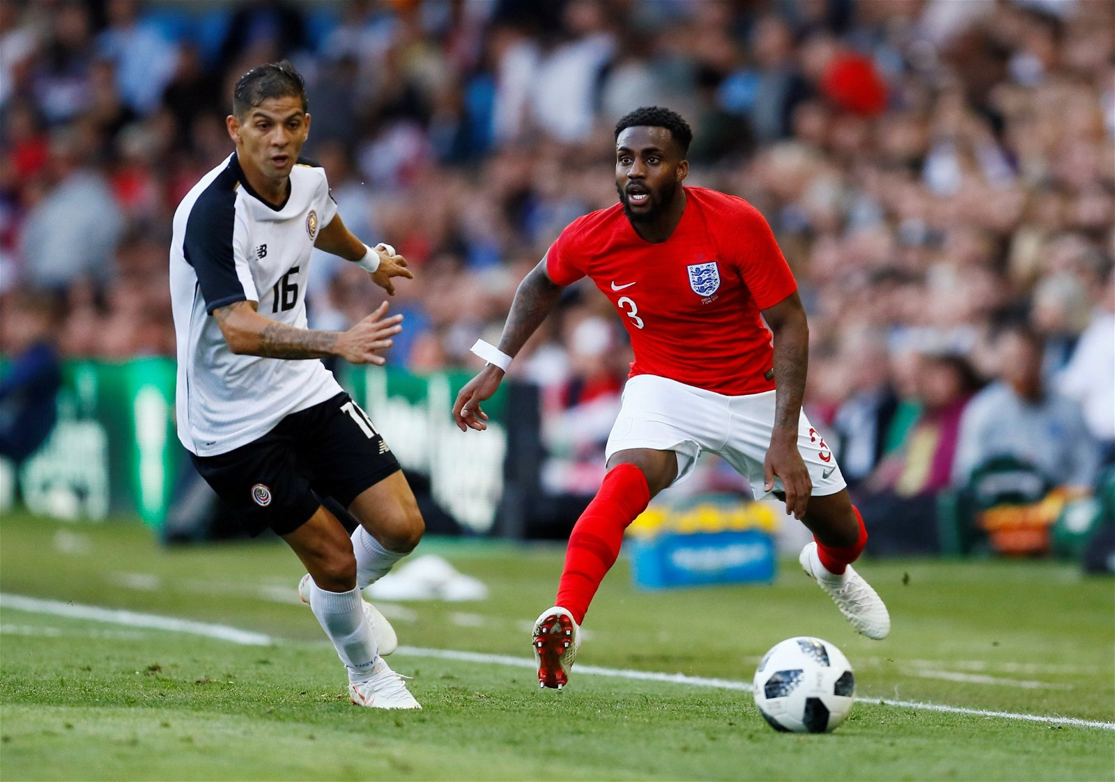 Danny Rose in action against Costa Rica