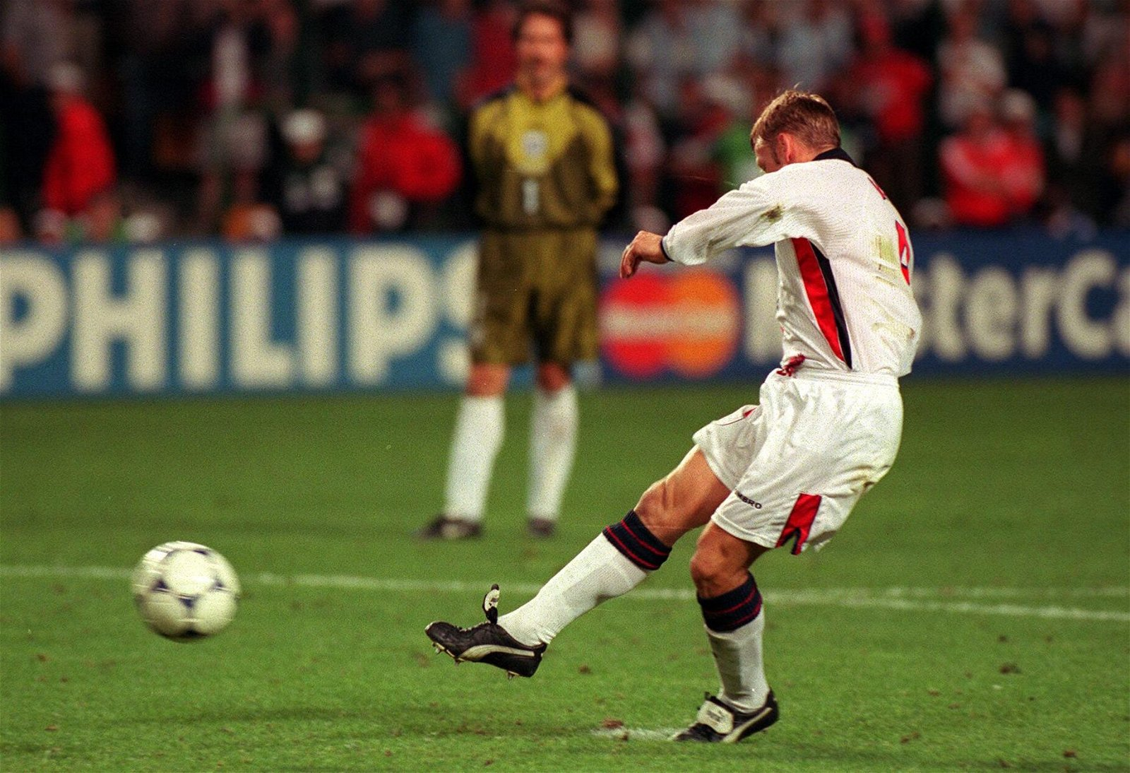 England's David Batty has his penalty saved during the shoot out