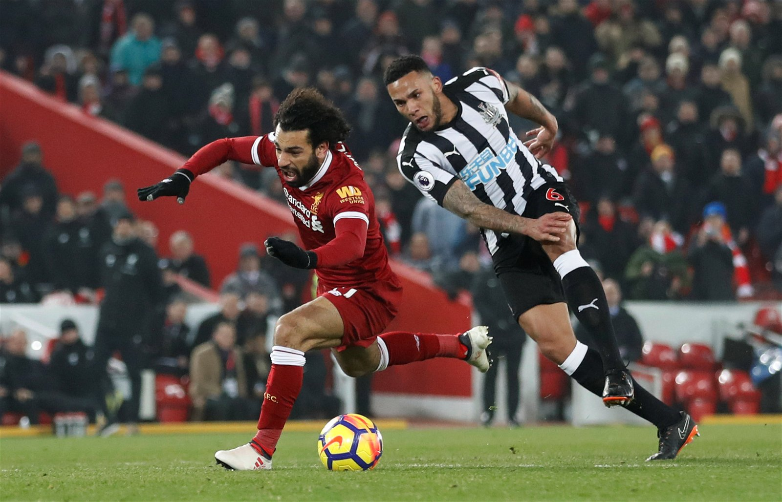 Jamaal Lascelles in action against Liverpool
