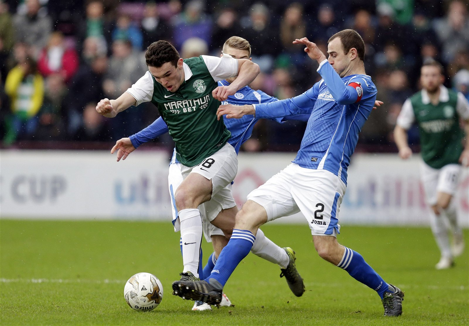 John McGinn in action for Hibernian