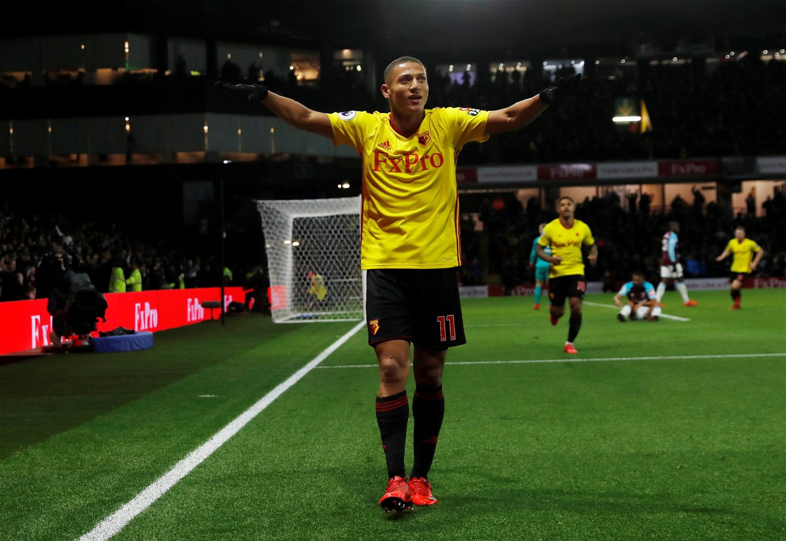 Richarlison celebrates scoring for Watford
