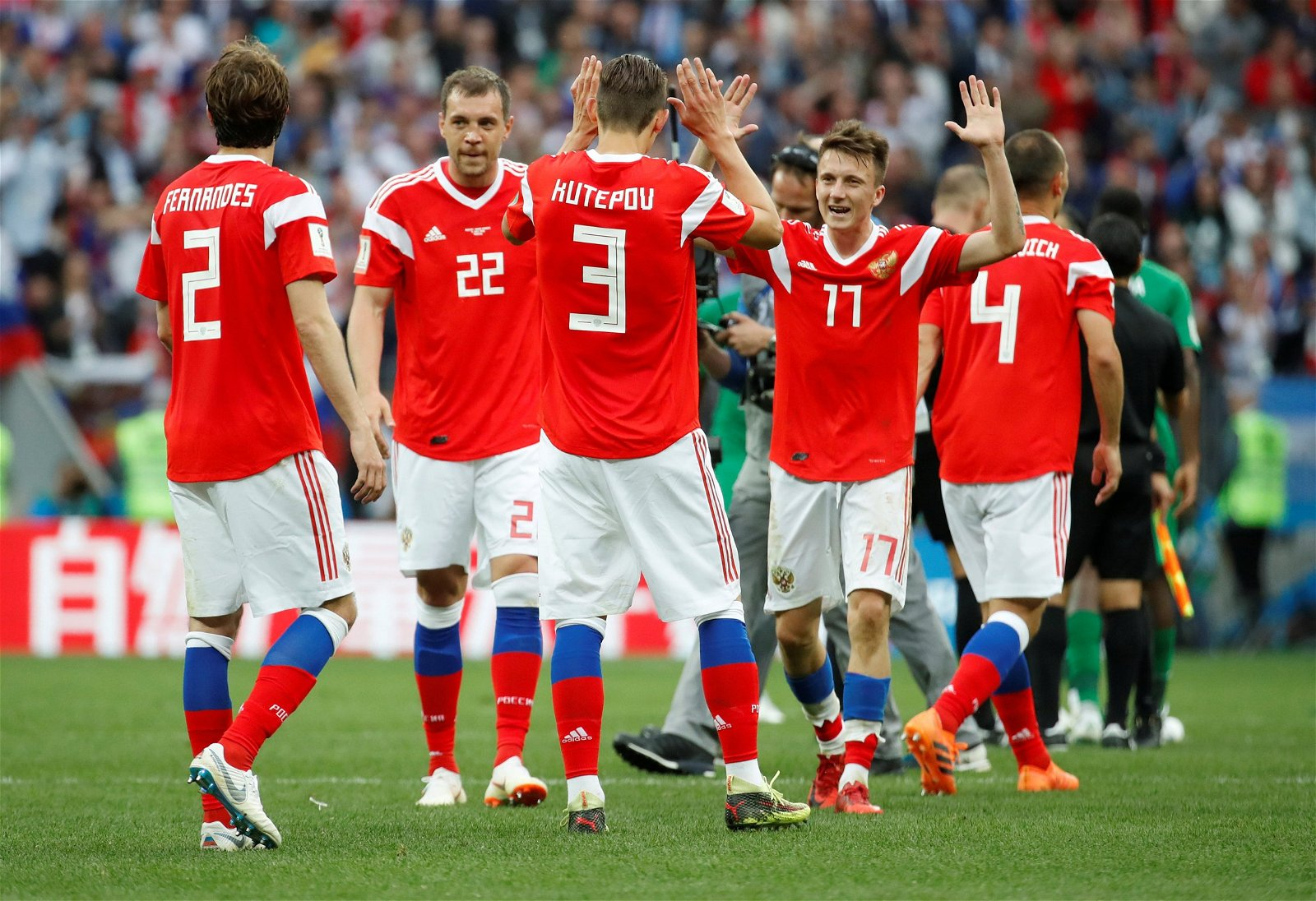 Russia players at 2018 World Cup
