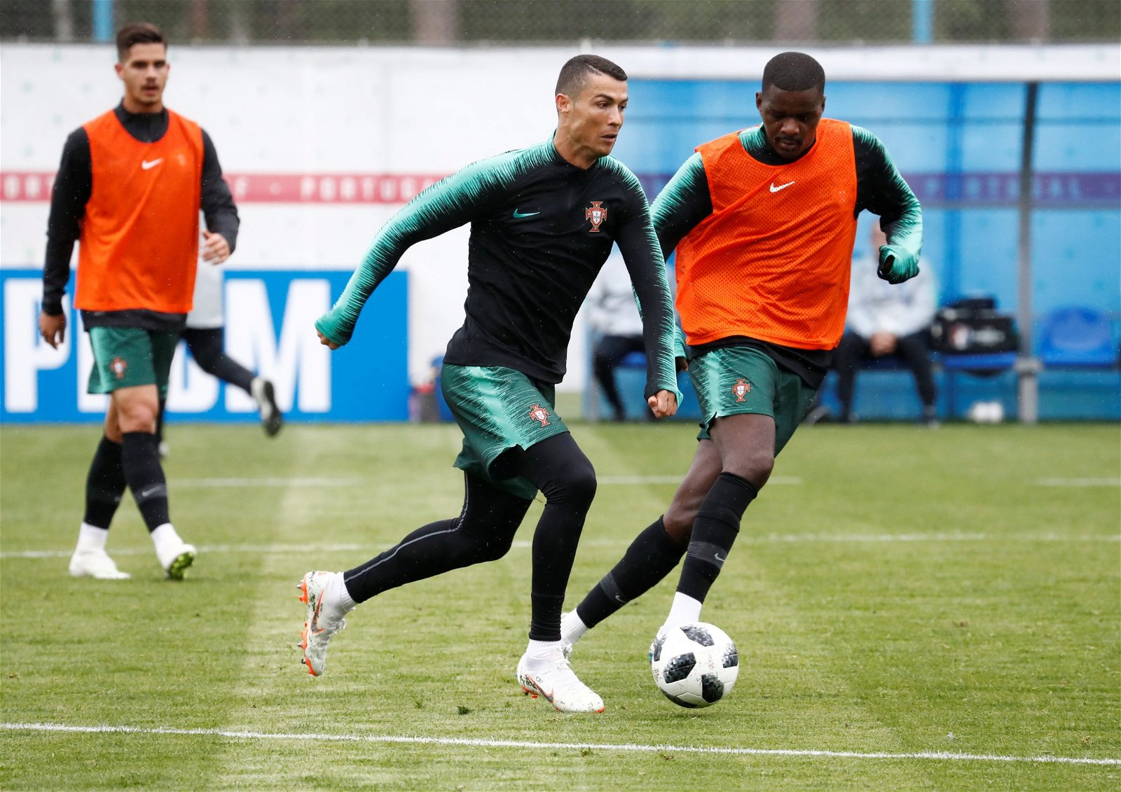 William Carvalho with Cristiano Ronaldo in Portugal international