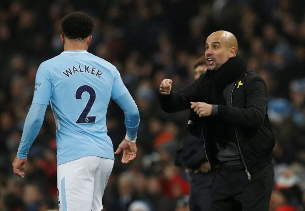 Manchester City v Tottenham: Pep Guardiola gives instructions to Kyle Walker