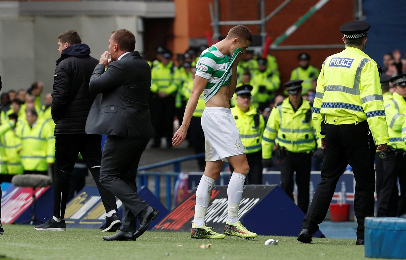 jozo simunovic wipes his brow after leaving the pitch