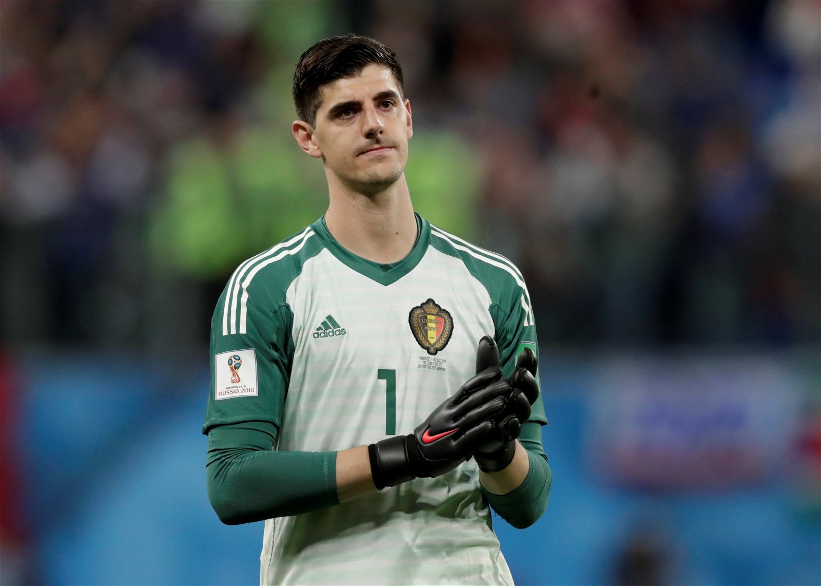 Thibaut Courtois in action for Belgium against France at the World Cup