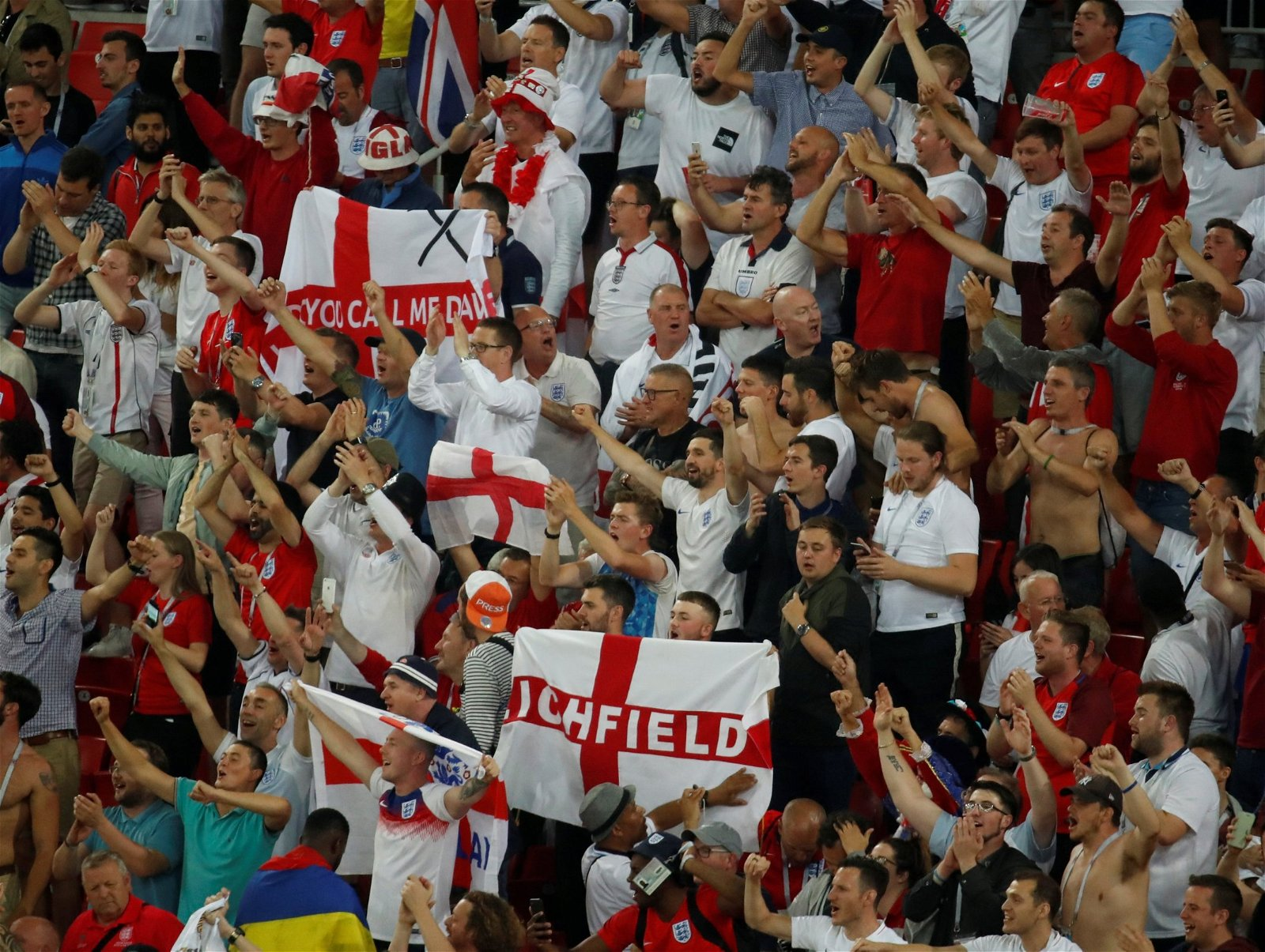England fans watch the win over Colombia