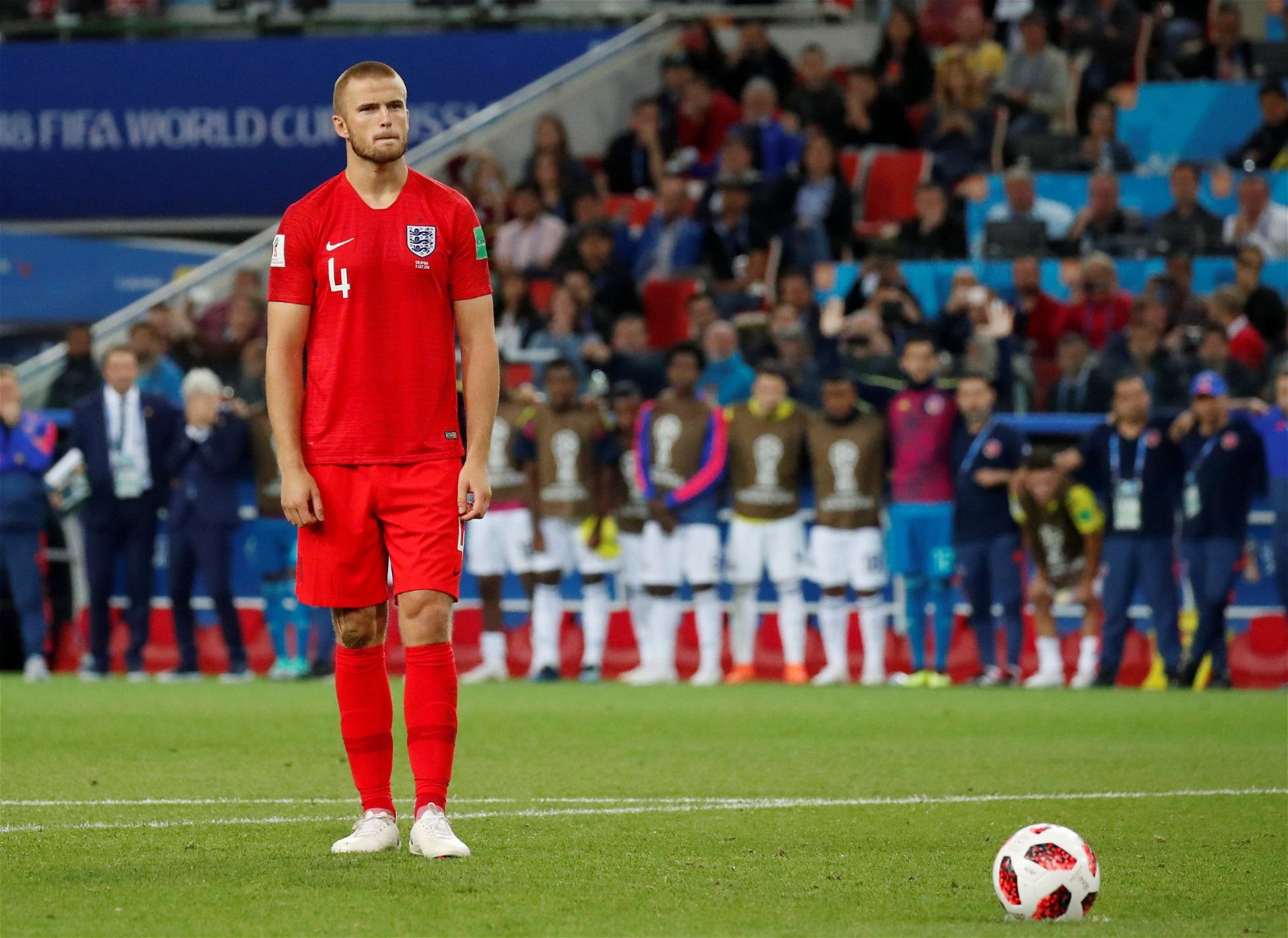 Eric Dier prepares to take his penalty against Colombia