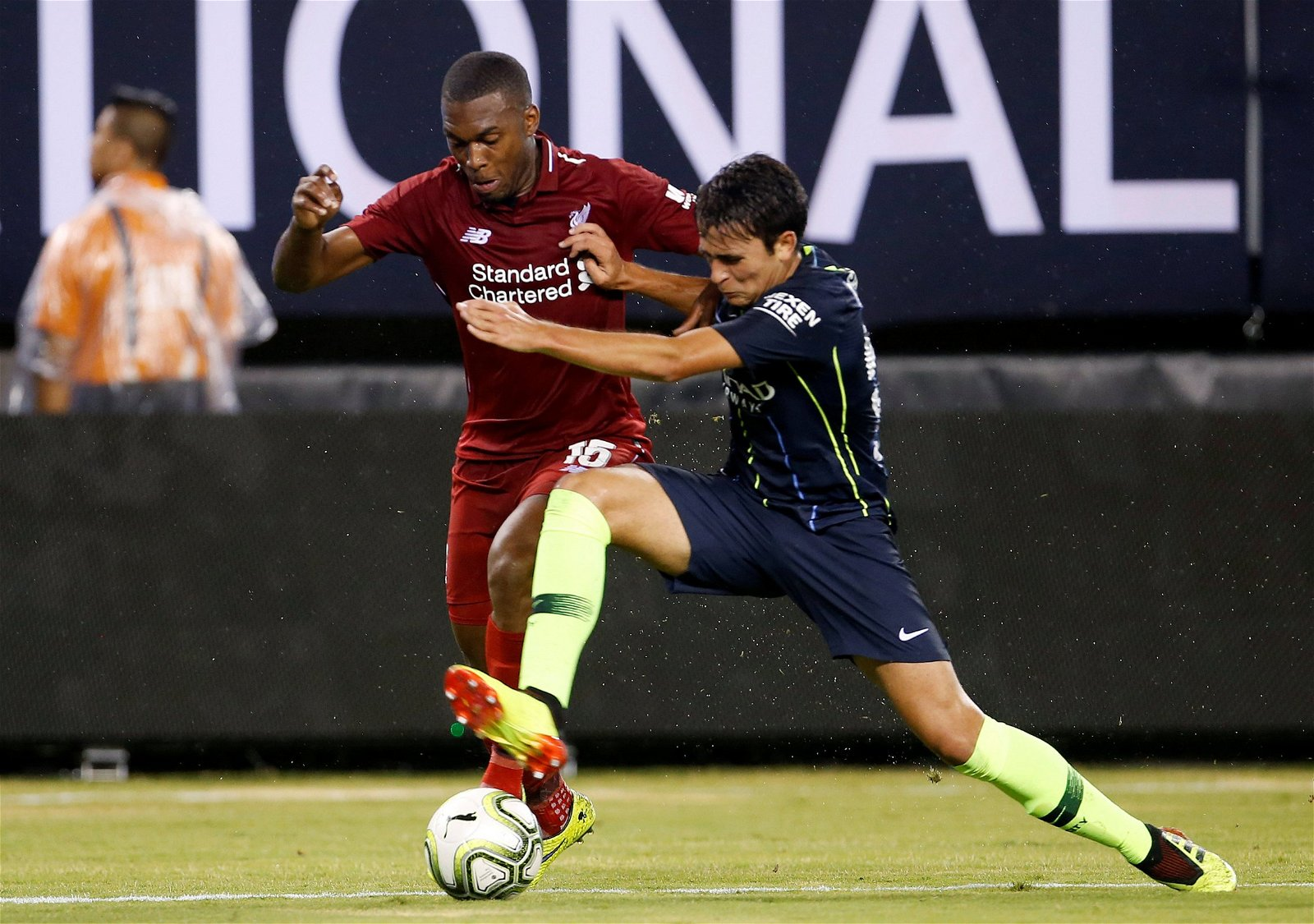 Eric Garcia in pre-season action against Liverpool's Sturridge