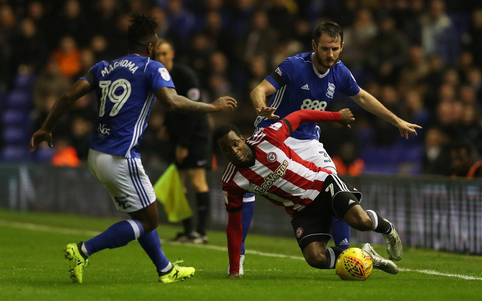 Florian Jozefzoon falls to the ground vs Birmingham