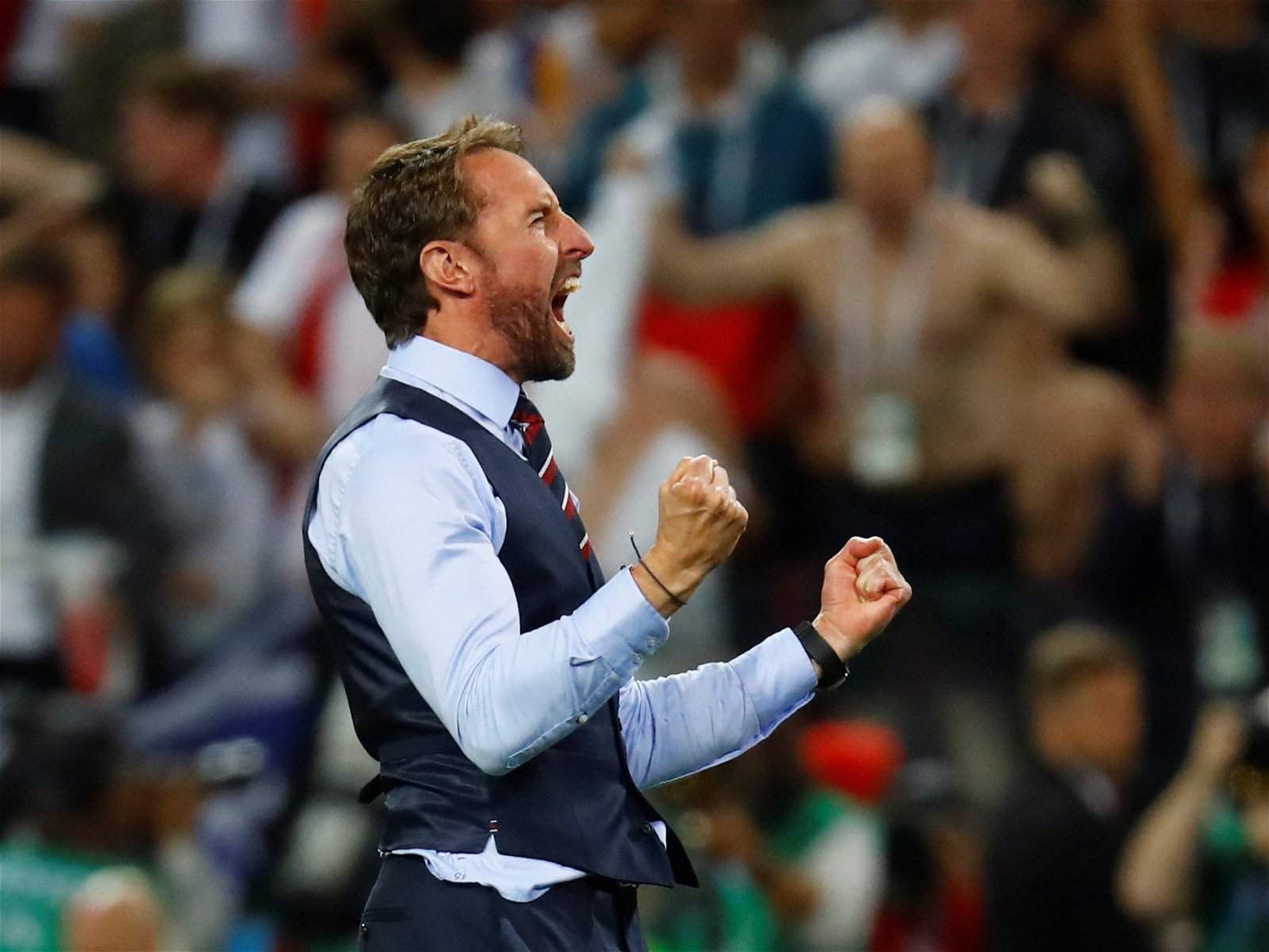 Gareth Southgate celebrates as England beat Colombia