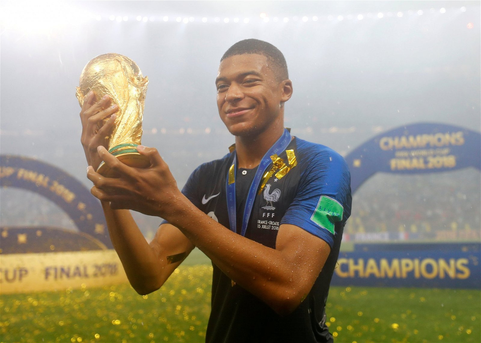 Kylian Mbappe lifts the World Cup