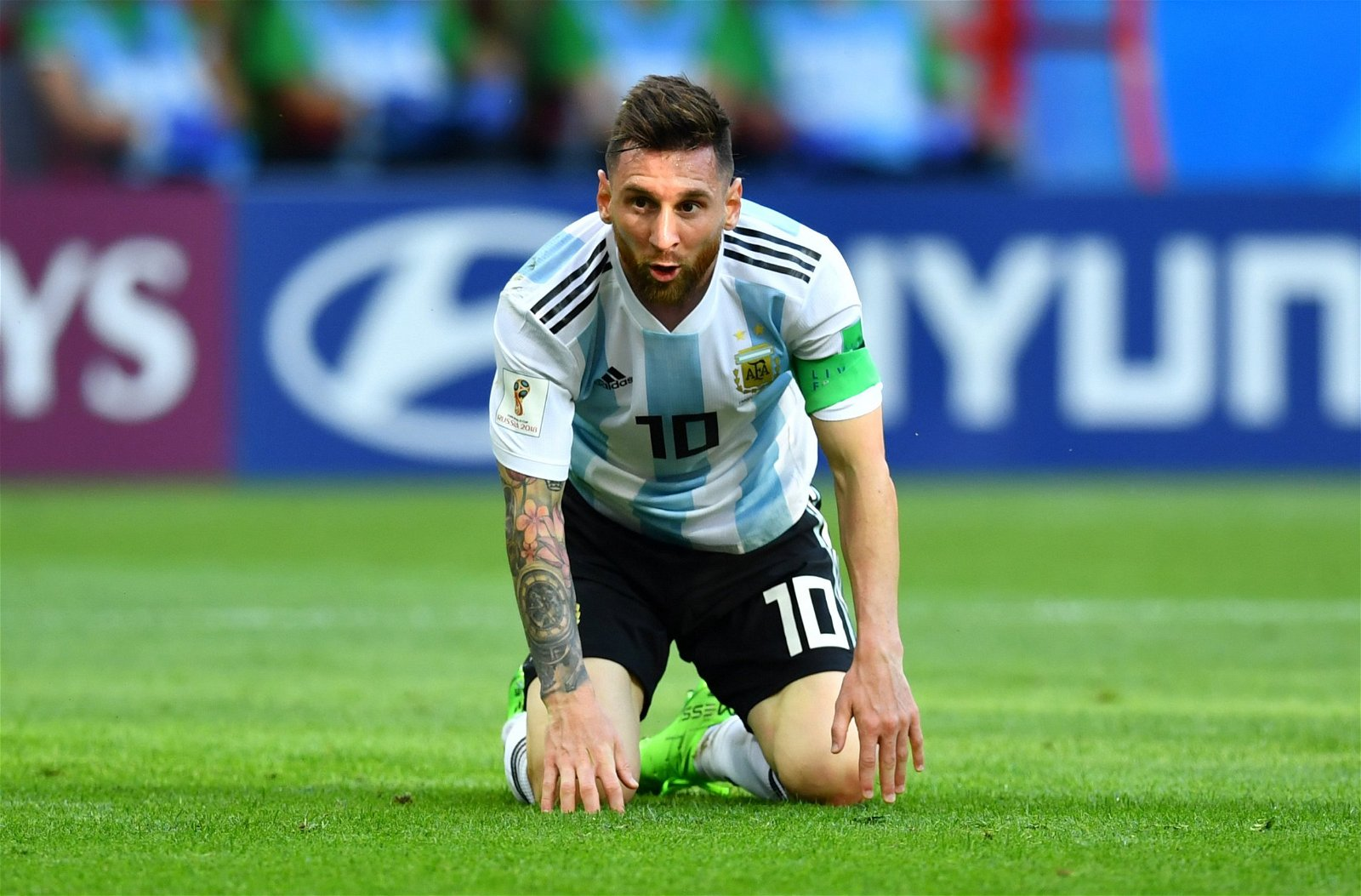 Lionel Messi looks dejected