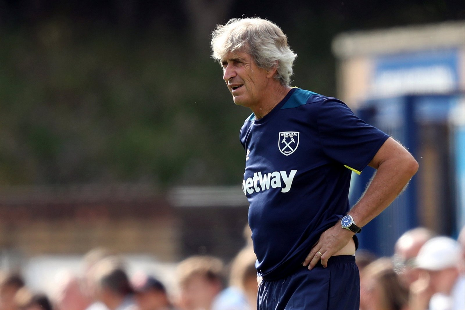 Manuel Pellegrini watches from the touchline as West Ham United face Wycombe Wanderers