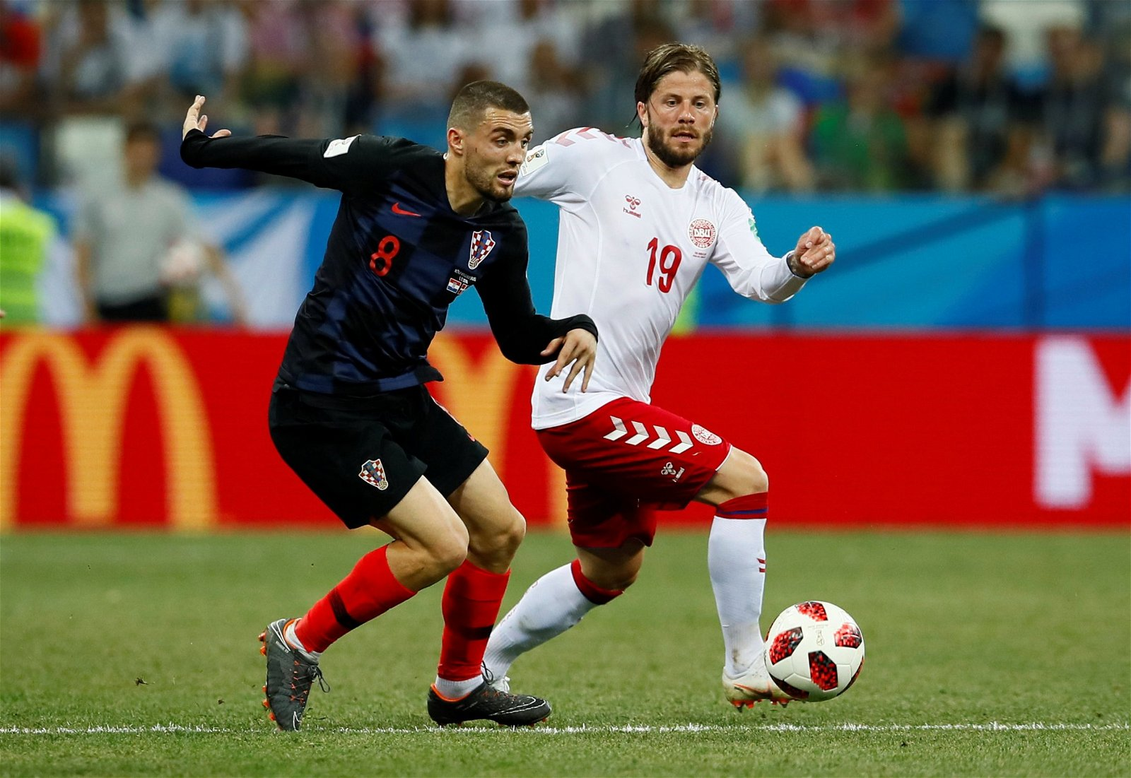 Mateo Kovacic in action against Denmark