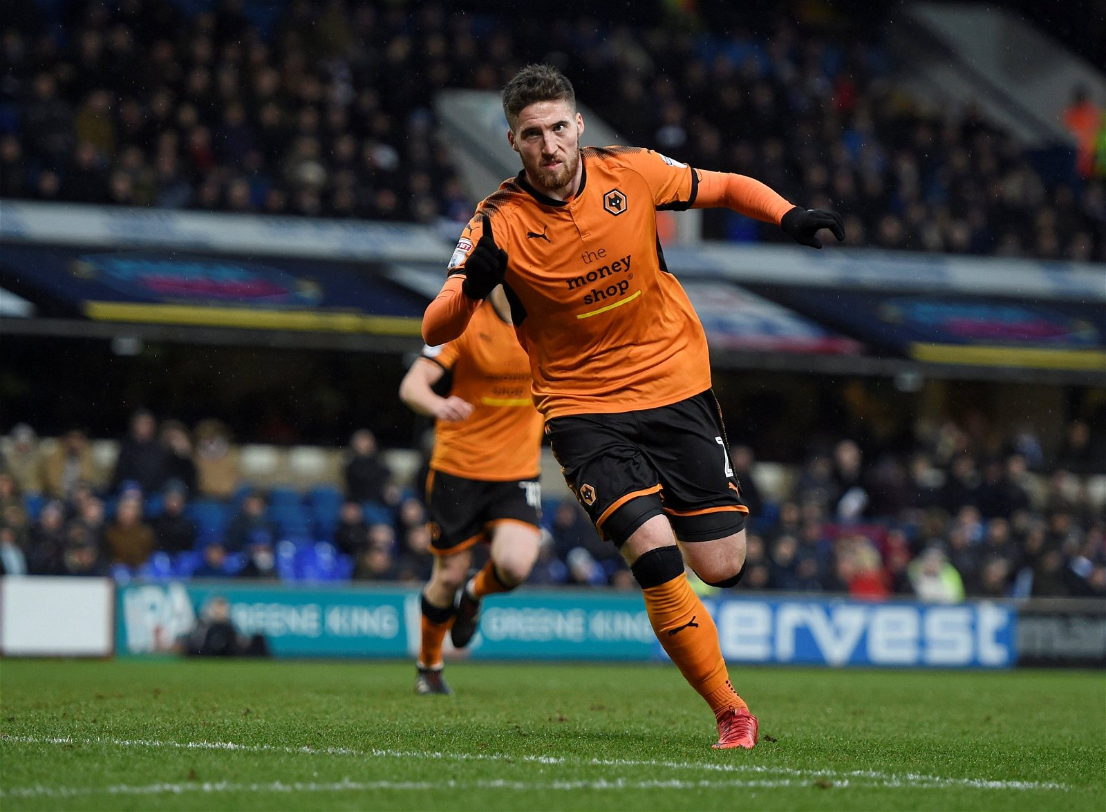 Wolves' Matt Doherty celebrates scoring against Ipswich