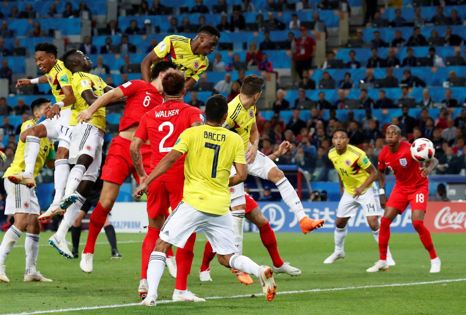 Yerry Mina scores against England for Colombia