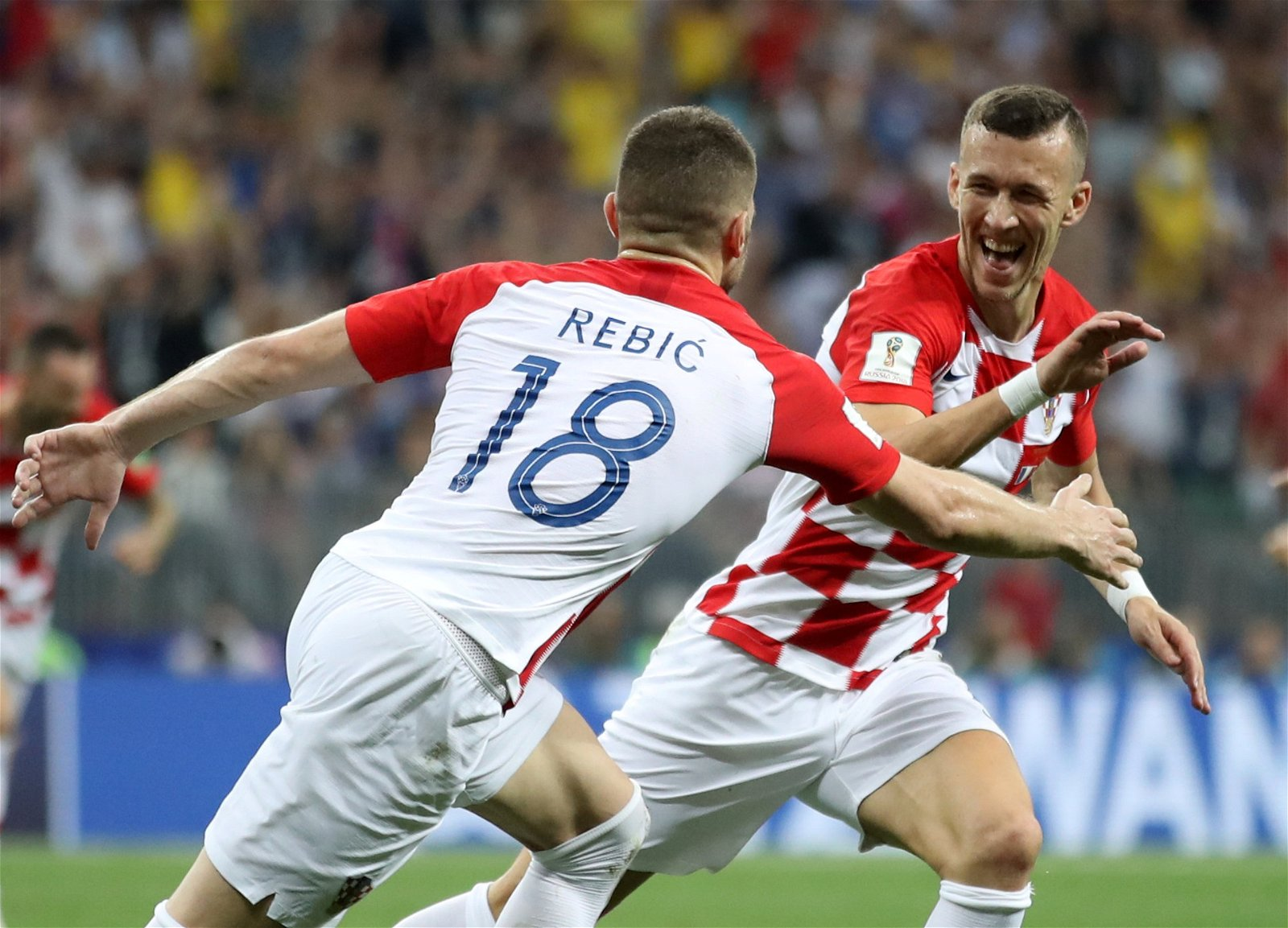 ivan perisic celebrates his goal in the world cup final with ante rebic