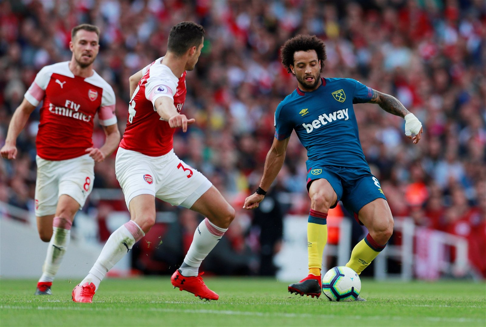 Anderson in action against Arsenal's Xhaka