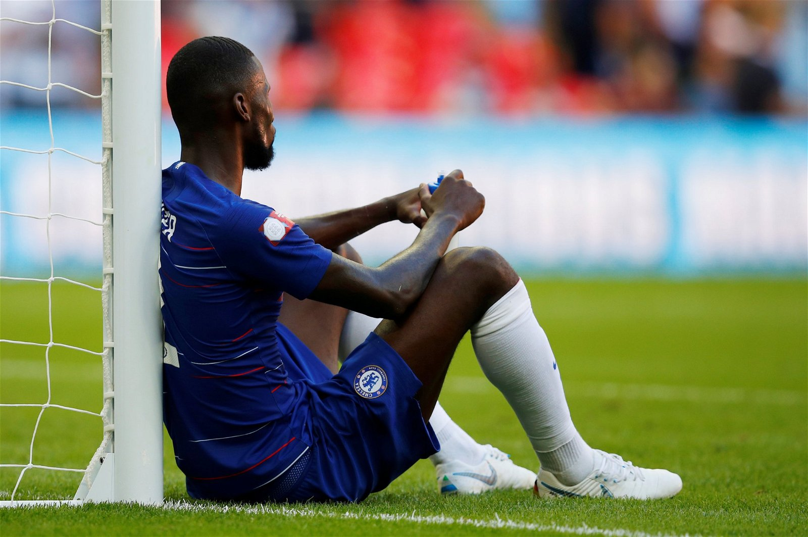 Antonio Rudiger dejected after the Community Shield