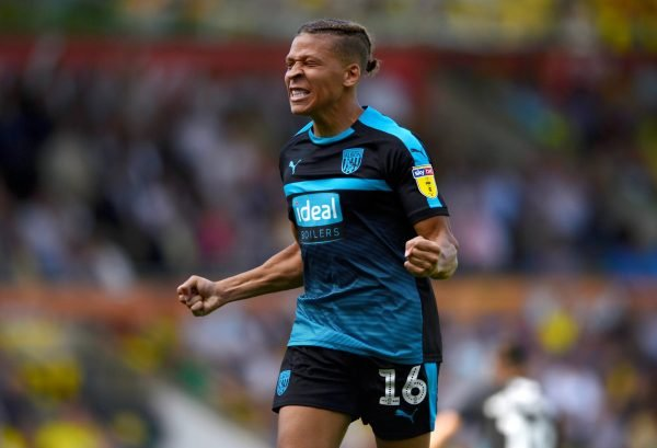 Dwight Gayle celebrates during West Bromwich Albion v Queens Park Rangers
