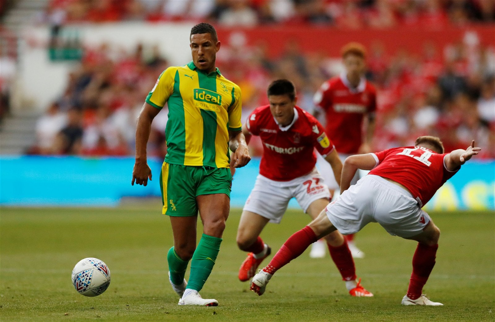 Jake Livermore playing for West Brom vs Nottingham Forest