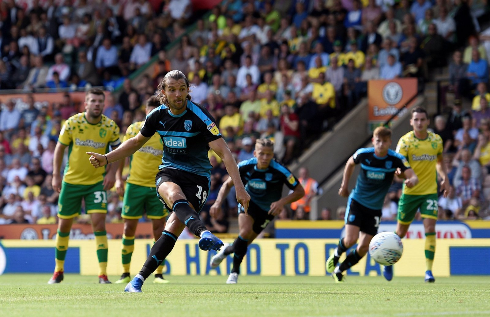 Jay Rodriguez scores for West Brom against Norwich