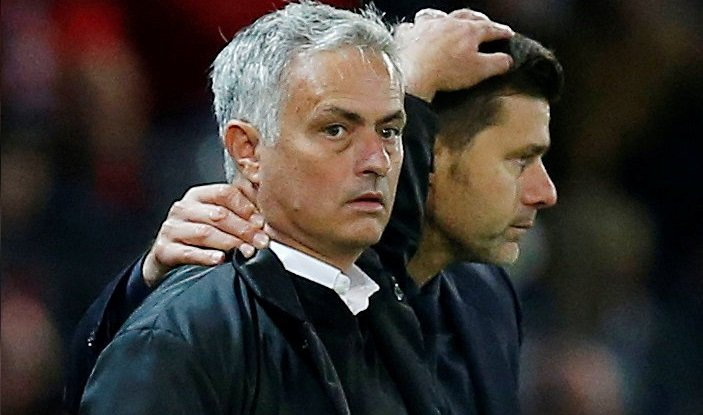 Jose Mourinho pats Mauricio Pochettino on the head