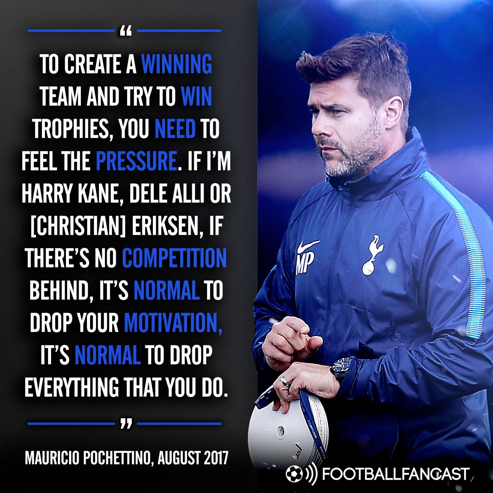 Mauricio Pochettino on the lack of competition in Tottenham's squad