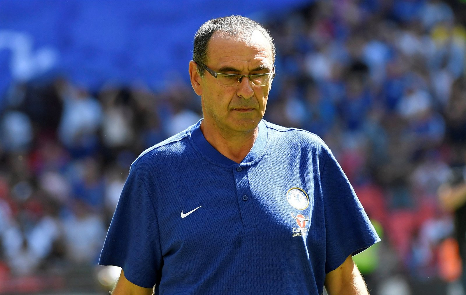 Maurizio Sarri on the touchline at the Community Shield