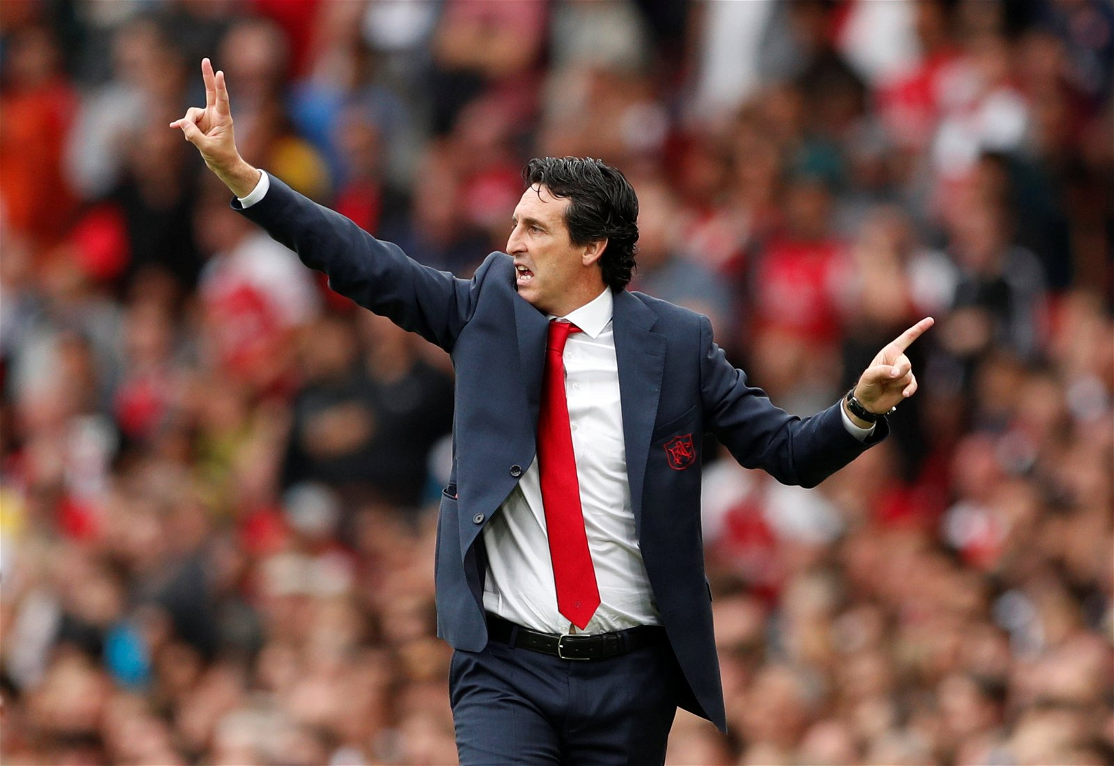 Unai Emery gesticulates from the touchline