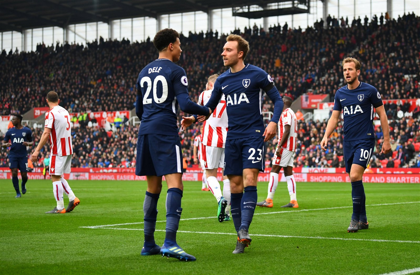Christian Eriksen, Dele Alli and Harry Kane of Tottenham Hotspur