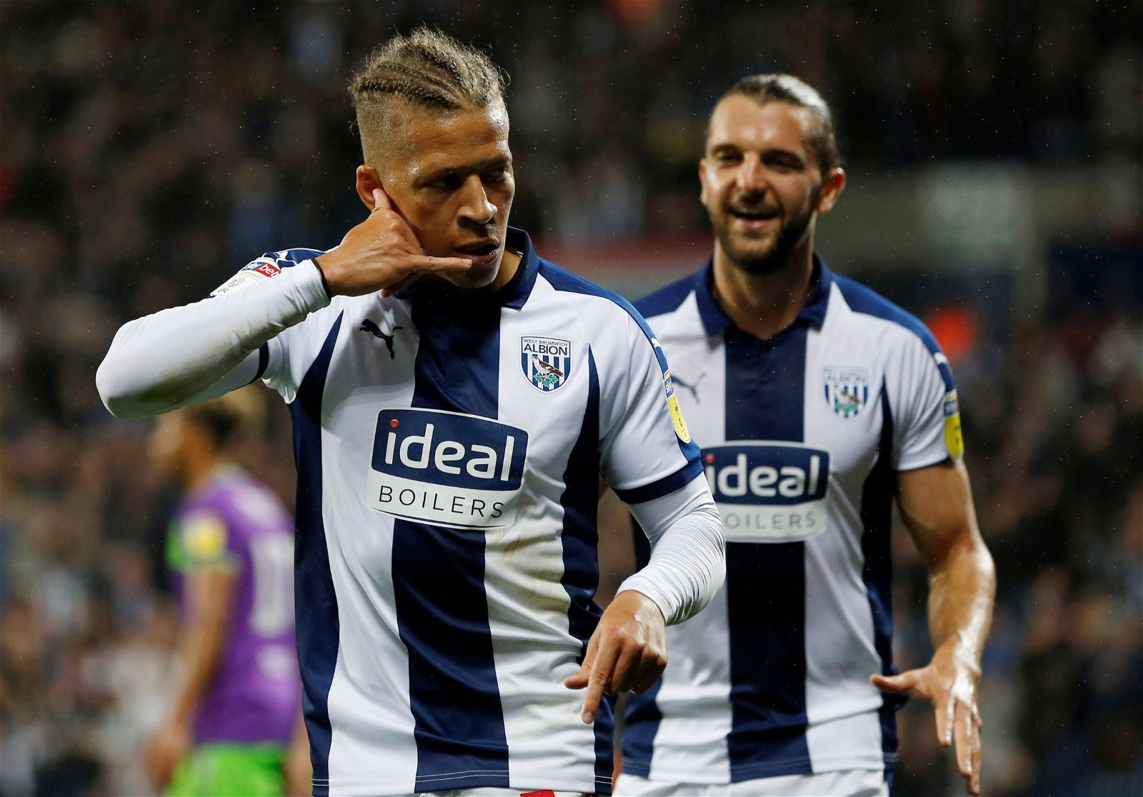 Dwight Gayle celebrates for West Brom