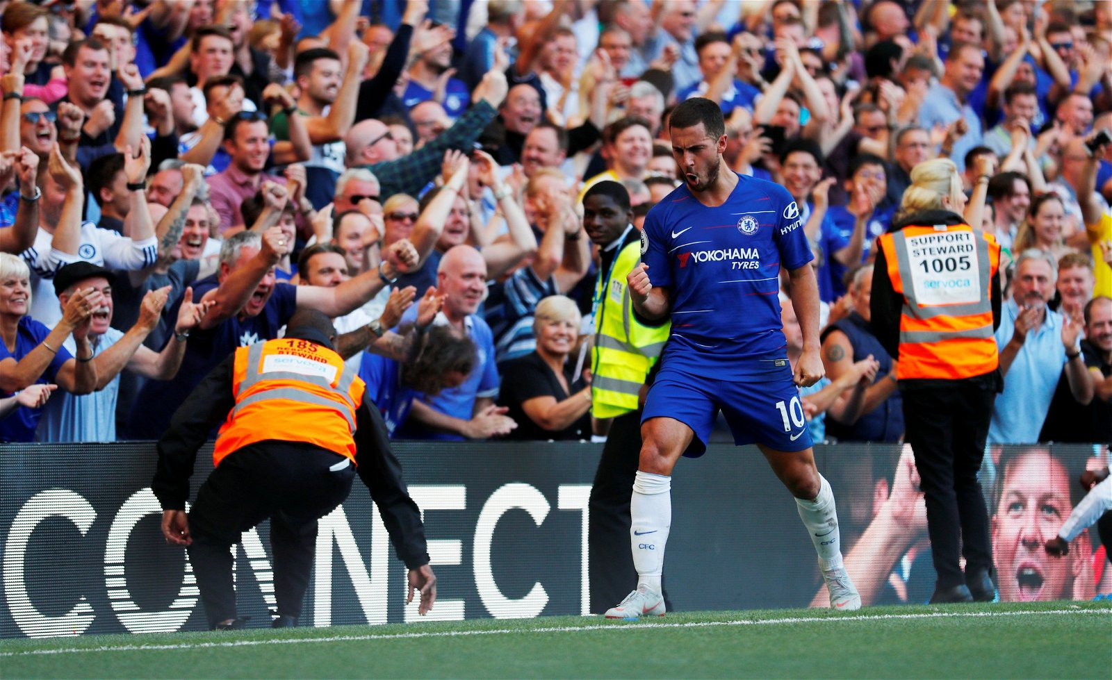 Eden Hazard celebrates scoring against Bournemouth