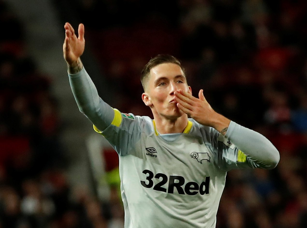 Harry Wilson celebrates after scoring for Derby County against Manchester United