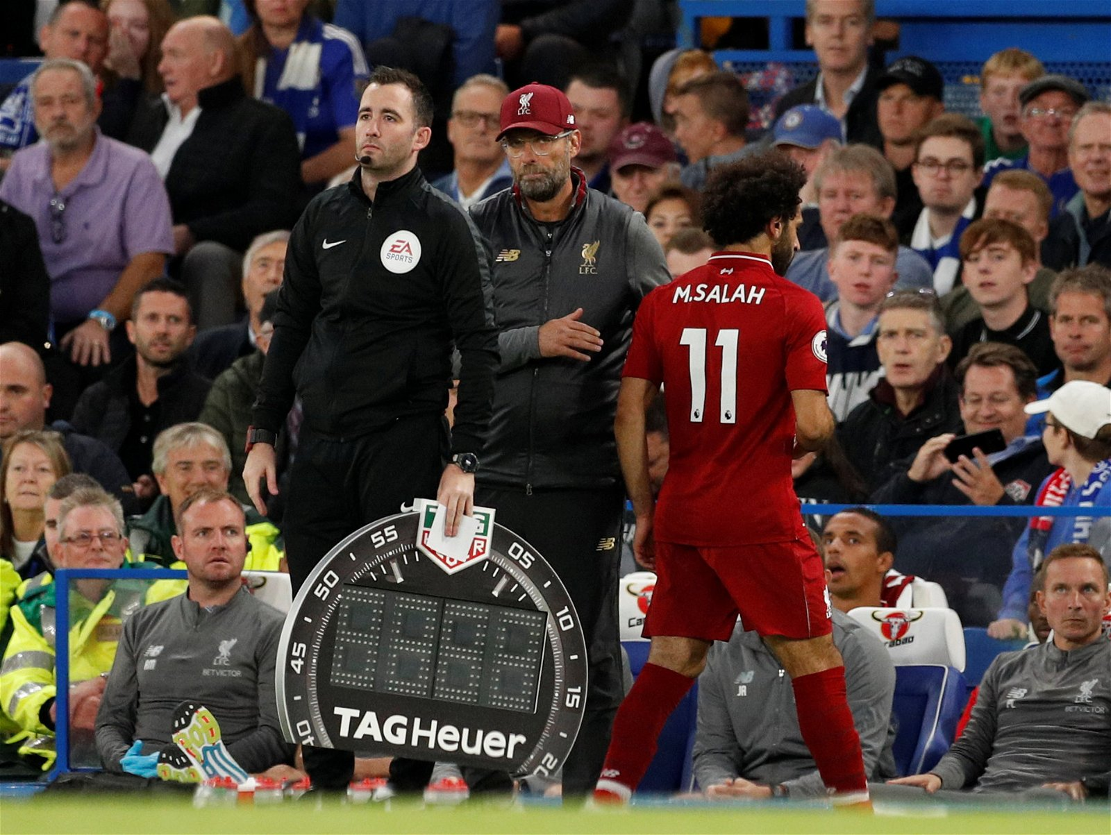 Mohamed Salah walks off the pitch after being substituted during Chelsea v Liverpool