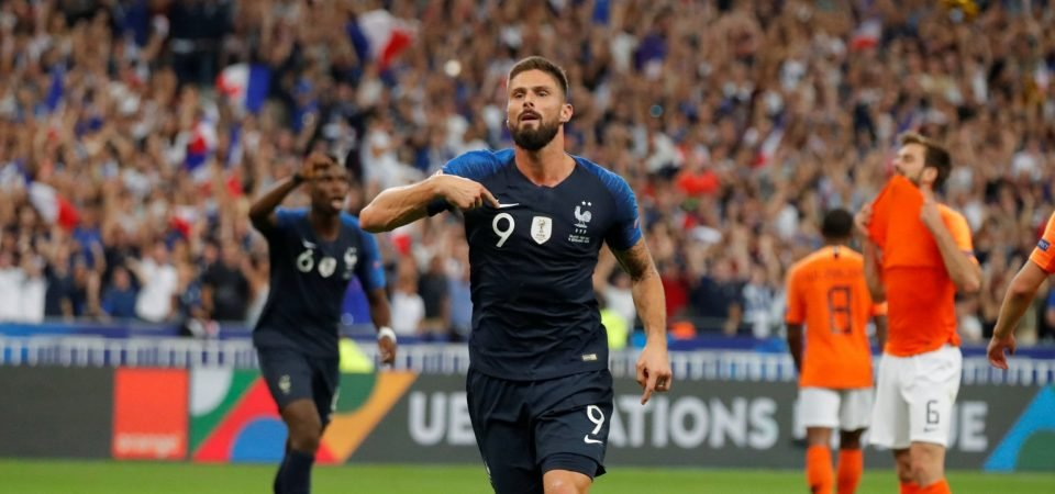 Chelsea fans hail Giroud's goalscoring antics for France