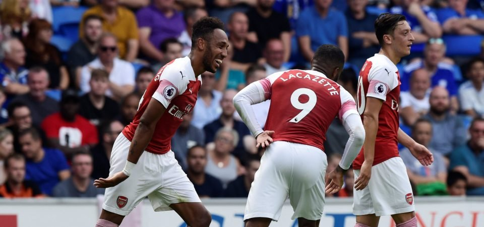 Image result for aubameyang ozil and lacazette