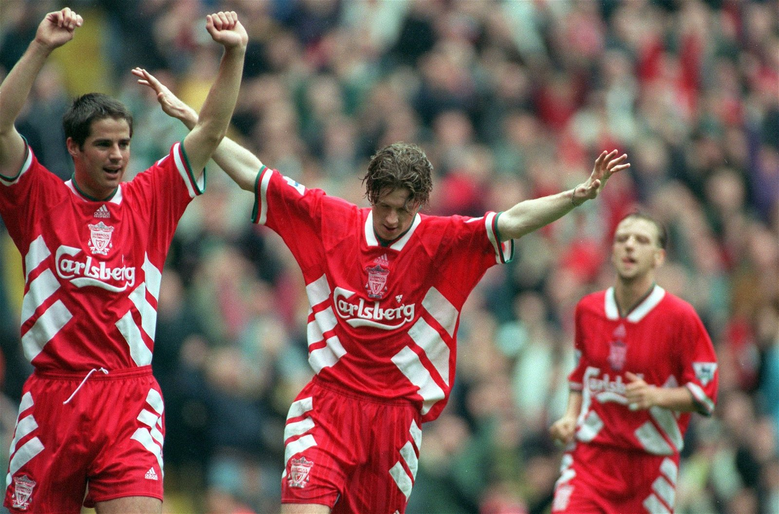 Steve McManaman celbrates scoring for Liverpool in 1994