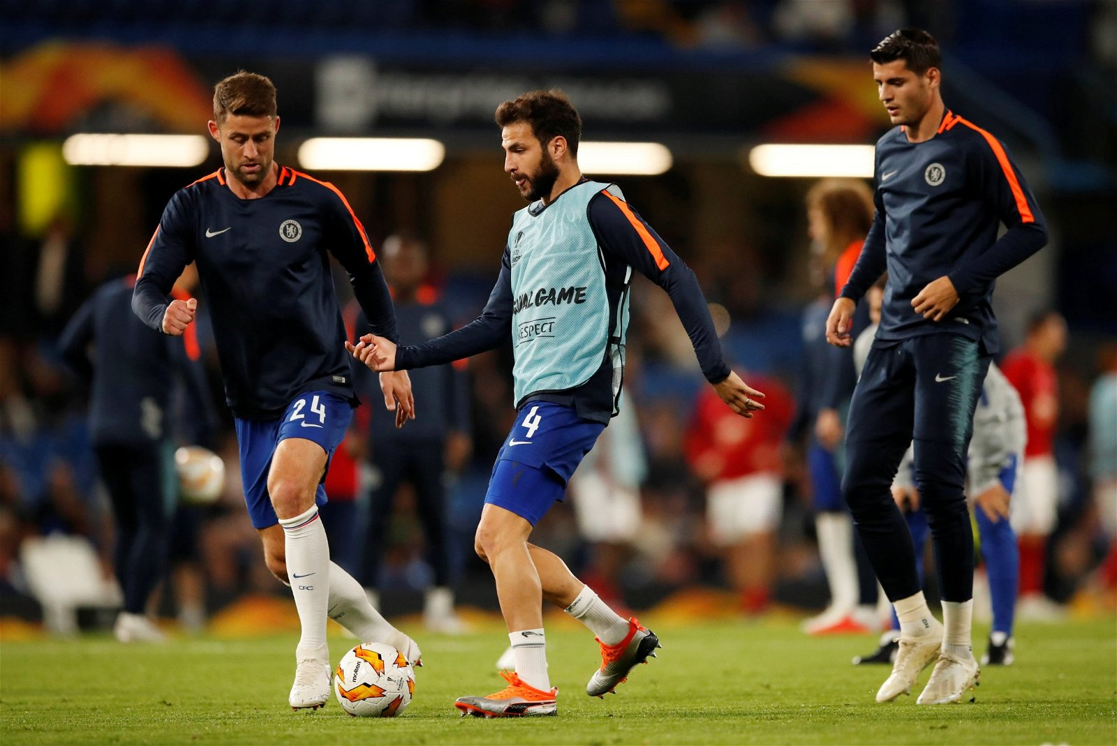 Cesc Fabregas warming up before a Chelsea game